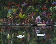 Fall Scenes Painting Framed Prints - Two Swans Framed Print by Sal Cutrara