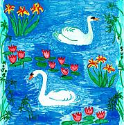 Pool Ceramics Posters - Two Swans Poster by Sushila Burgess