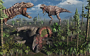 Paleozoology Art - Two T. Rex Dinosaurs Confront Each by Mark Stevenson