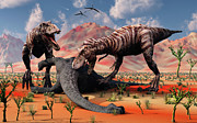 Two T. Rex Dinosaurs Feed Print by Mark Stevenson