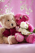 Toy Photos - Two Teddy Bears with Roses by Ethiriel  Photography