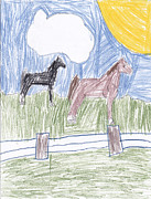 Tennesee Posters - Two Tennesee Walking Horses Poster by Margaret Acker