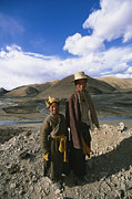 Herders Posters - Two Tibetan Herders Near Litang Poster by David Edwards