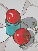 Food And Beverage Painting Originals - Two Tomatoes by Sandy Tracey