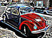 Sam Sheats Framed Prints - Two Toned VW Beetle Framed Print by Samuel Sheats