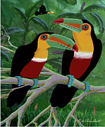 Toucan Digital Art Posters - Two Toucans Poster by Ken Bloomhorst