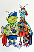 Illustrator Metal Prints - Two Tourists True Metal Print by Hanne Lore Koehler