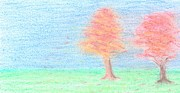 Autumn Trees Drawings Posters - Two Trees Poster by Carol Shoemaker