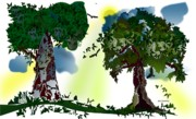 Creativity Prints - Two Trees Print by Gary Kennedy