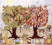 Folk Art Mixed Media - Two Trees by Karl Frey