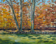 Dappled Light Originals - Two Trees Stone Wall 2 by Jane  Simonson