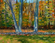 Dappled Light Originals - Two Trees Stone Wall by Jane  Simonson