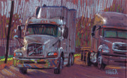 Transportation Pastels Framed Prints - Two Trucks Framed Print by Donald Maier