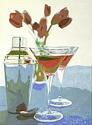 Two Tulip Martinis Print by David Lloyd Glover