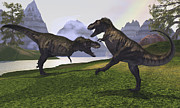 Two Animals Digital Art Framed Prints - Two Tyrannosaurus Rex Dinosaurs Fight Framed Print by Corey Ford
