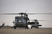 Taxiway Prints - Two Uh-60 Black Hawks Taxi Print by Terry Moore