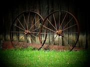 Wagon Wheels Prints - Two Wagon Wheels Print by Michael L Kimble