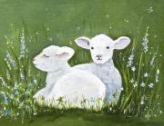 Fiber Art Paintings - Two Wee Sheep by Virginia McLaren