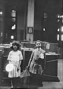 Luggage Framed Prints - Two Well Dressed Immigrant Children Framed Print by Everett