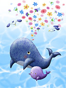 Blowhole Posters - Two Whales With Flowers Emerging From Blowhole Poster by Noriko Inoue
