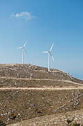Rhodes Posters - Two Wind Turbines On A Hill, Rhodes, Greece Poster by Mark Gerum