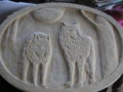 Carving Reliefs - Two wolves by Kary Fields-Montour