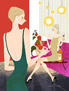 Living Well Posters - Two Woman Drinking Wine Poster by Eastnine Inc.
