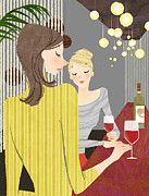 Young Adult Framed Prints - Two Woman With Wine At Bar Counter Framed Print by Eastnine Inc.
