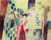 With Blue Paintings - Two Women and a Man with Parrots by August Macke