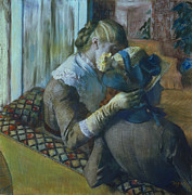 Ribbon Painting Posters - Two Women Poster by Edgar Degas