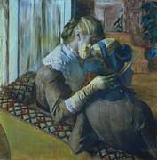 Two Women Print by Edgar Degas