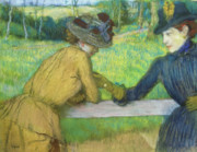 Hands Pastels Prints - Two women leaning on a gate Print by Edgar Degas