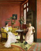 Home Paintings - Two Women Reading in an Interior  by Jean Georges Ferry
