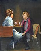 Talking Painting Prints - Two Women Talking Print by Peter Worsley