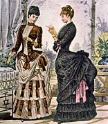 1880s Prints - Two Women Wearing Bustle Dresses, Circa Print by Everett
