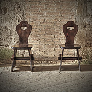 Old Wall Framed Prints - Two wooden chairs Framed Print by Joana Kruse