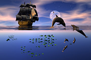 Dolphin Digital Art - Two worlds by Claude McCoy