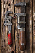 Wooden Building Prints - Two wrenches Print by Garry Gay