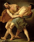 Macho Paintings - Two Wrestlers by Cesare Francazano