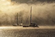 Yachts Prints - Two yachts in dawn mist Print by Sheila Smart