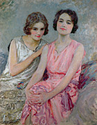 Pink Dress Framed Prints - Two Young Women Seated Framed Print by William Henry Margetson