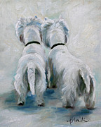 Westie Puppies Posters - Twos Company Poster by Mary Sparrow Smith