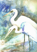 Egrets Paintings - Twosome  by Arline Wagner