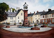 Water Town Drawings - Twyn Square Usk by Andrew Read