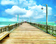 Sea Shore Digital Art - Tybee Island Pier in Watercolor by Tammy Wetzel