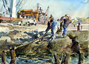 Cargo Paintings - Tying Up The Baltic Pearl by Gordon France