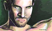Wolf Portrait Paintings - Tyler Hoechlin by Francoise Dugourd-Caput