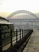 Hand Painted Digital Art - Tyne bridge by James Shepherd