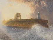 Lighthouses Paintings - Tynemouth Pier by Alfred William Hunt