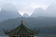 Architectural Feature Photos - Typical Chinese pavilion on the banks of the River Li at sunrise by Sami Sarkis
